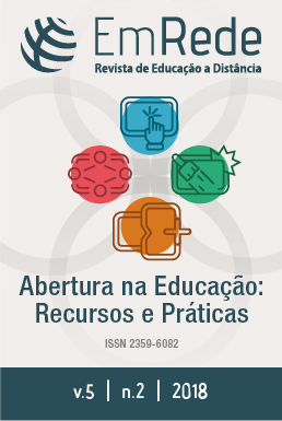 Capa do número 2 do volume 5 da Revista EmRede, apresentando o título da revista e, abaixo, uma imagem representando os recursos educacionais abertos