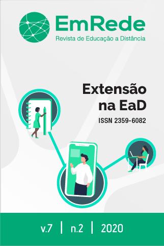 Capa da Revista EmRede, com imagem integrando várias pessoas sob o título Extensão na EaD