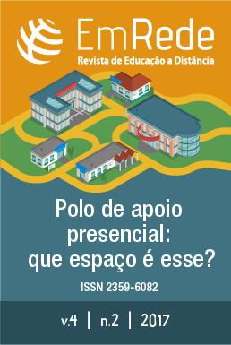 Capa do número 2 do volume 4 da Revista EmRede, apresentando o título da revista, abaixo um conjunto de prédios, unidos por linhas que os circundam.